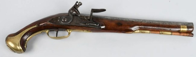 Rare 1733 French dragoon flintlock pistol, large size with 12-inch barrel in .70 bore, first standardized pistol for French army and navy, type used in French and Indian War 1754-1763. Estimate: $8,000-$12,000