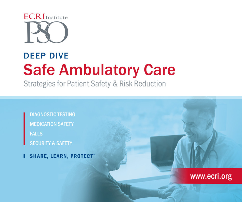 New research from ECRI Institute, the nation's leading independent, non-profit patient safety organization, reveals that diagnostic testing and medication events are the most frequent safety risks patients face in ambulatory care. ECRI Institute's Deep Dive: Safe Ambulatory Care, Strategies for Patient Safety & Risk Reduction identifies solutions for five key types of safety challenges occurring in ambulatory care, the largest and most widely used segment of the healthcare system.