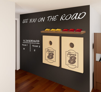 Super 8 by Wyndham's ROOM8 chalk-board entry wall is great for all ages. (PRNewsfoto/Wyndham Hotels & Resorts)