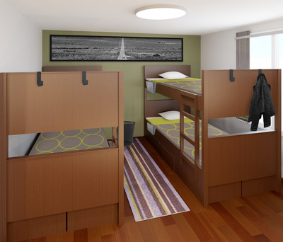 Maximizing space with stacked beds in Super 8 by Wyndham's ROOM8. (PRNewsfoto/Wyndham Hotels & Resorts)
