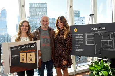 Alison Victoria, right, celebrity interior designer and TV personality, Mike Mueller, Super 8 Brand President, and Candice Buttars, undergrad design student at Utah State University and winner of the ROOM8 Design Challenge, pose by a floor plan of the new Super 8 by Wyndham ROOM8 design, Wednesday, Oct. 23, 2019 in NYC. ROOM8, the brand's first-ever shared room concept, reimagines the traditional hotel suite to accommodate a new generation of road trippers. (AP Images for Super 8 by Wyndham) (PRNewsfoto/Wyndham Hotels & Resorts)