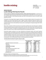 Lundin Mining Third Quarter Results (CNW Group/Lundin Mining Corporation)