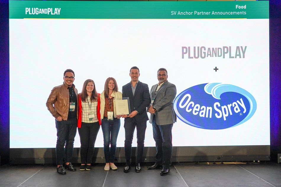 From left to right: Rizal Hamdallah, Chief Global Innovation Officer at Ocean Spray, Lisa Torino, Director of Hub Platform Strategy at Ocean Spray, Katy Latimer, VP of Research & Development at Ocean Spray, Michael Ohmstead, CRO of Plug & Play, and Bobby Chacko, CEO of Ocean Spray at the announcement of the Ocean Spray and Plug and Play partnership.