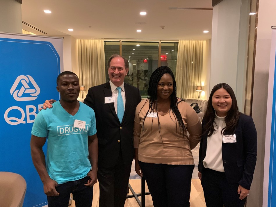 QBE Board of Directors Chairman Truett Tate joined the QBE and Ashoka Urban Resilience Champion Drugviu and Runner-up Biocellection at the Challenge awards presentation on October 23rd.  Pictured are Kwaku Owusu (Drugviu), Truett Tate, Melanie Igwe (Drugviu) and Miranda Wang (Biocellection.)