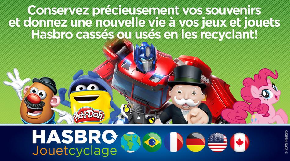 Hasbro Canada annonce son programme de recyclage de jouets et offre un service de recyclage gratuit de nos jeux et de nos jouets (Groupe CNW/Hasbro Canada Corporation)