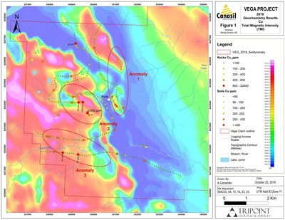 2019 Canasil Vega Project, Western Area Magnetic and Soil Anomalies Confirm High Priority Copper-Gold Targets (CNW Group/Canasil Resources Inc.)