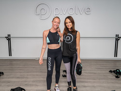 Catt Sadler and P.volve master trainer Evan Breed at the new NYC studio