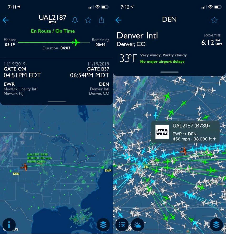 Customers and aviation enthusiasts can track United's Star Wars: The Rise of Skywalker special aircraft on FlightAware