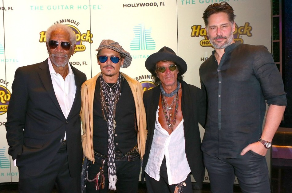 Hollywood elites Morgan Freeman, Johnny Depp, Joe Perry and Joe Manganiello on the red carpet at the official grand opening of Seminole Hard Rock Hotel & Casino Hollywood (Florida) before the world's first Guitar Hotel lit up the night sky with a choreographed musical light show and fireworks display.