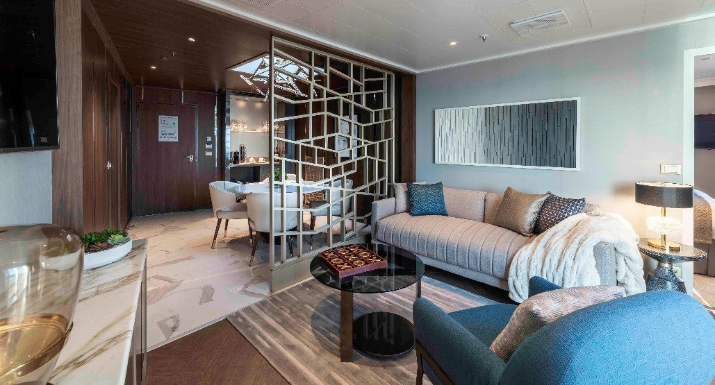 One of two Sky Princess Sky Suites - entrance, ensuite dining and living room