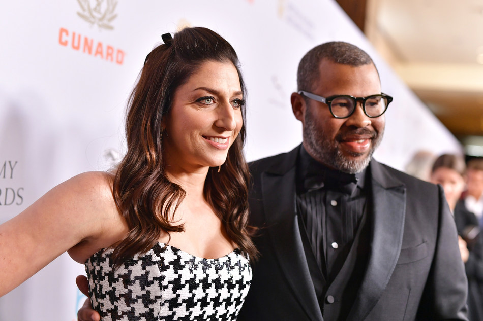 Jordan Peele and wife, actress Chelsea Peretti at the 2019 British Academy Britannia Awards presented by American Airlines, Land Rover and Jaguar; where Peele accepted the John Schlesinger Britannia Award for Excellence in Directing presented by Cunard (Photo: BAFTA LA).