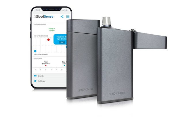 BOYDSense's first product under development, the g-Sense Breath Meter, is an affordable handheld device designed to accurately predict blood glucose values by measuring the volatile organic compounds (VOCs) in human breath.