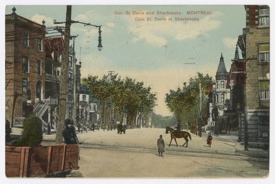 Coin St-Denis et Sherbrooke, carte postale, Montréal, European Post Card Co., [entre 1903 et 1915]. Collections de BAnQ. (Groupe CNW/Bibliothèque et Archives nationales du Québec)