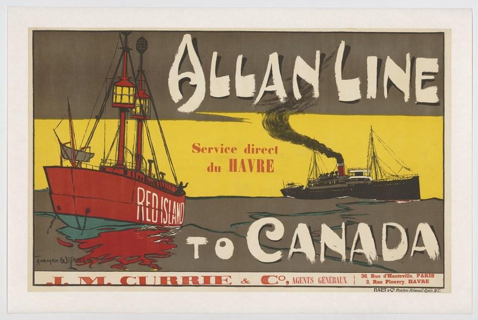 Norman Wilkinson, Allan Line to Canada, service direct du Havre, affiche, 64 x 102 cm, Montréal, 1901. Collections de BAnQ. (Groupe CNW/Bibliothèque et Archives nationales du Québec)