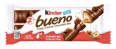 Kinder Bueno is now available nationwide at retail, grocery, drug and convenience stores with an MSRP of $1.29 per bar for the two bar size and $1.99 for the four bar sharing size.