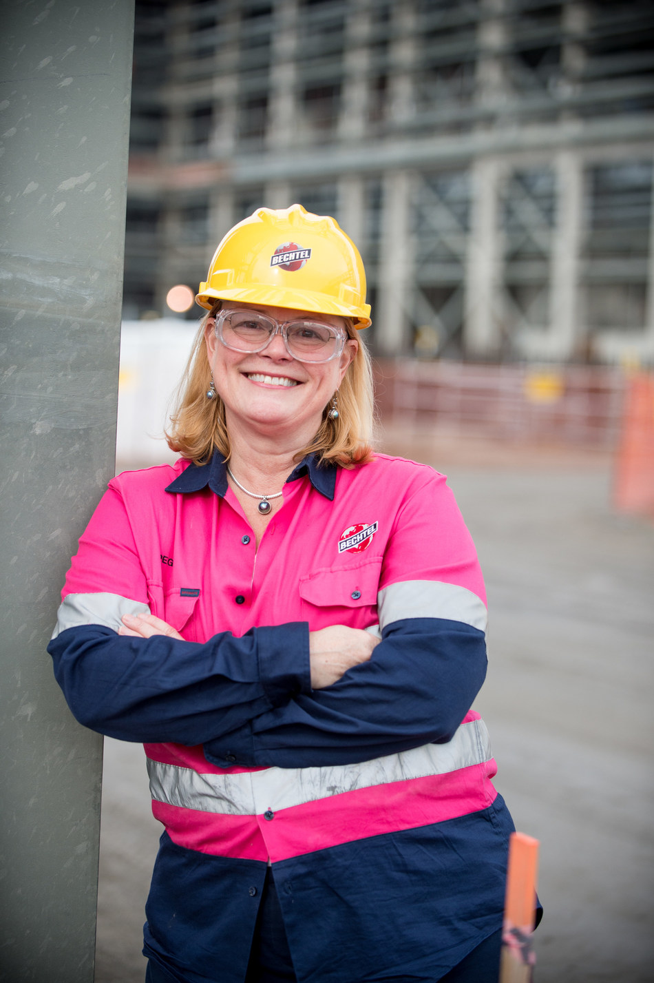 Bechtel Senior Vice President Peggy McCullough, pictured at the construction site of the Hanford Waste Treatment and Immobilization Plant in Washington state.