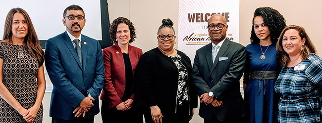 l-r: Celina Moreno, J.D., IDRA President & CEO; Atif Qarni, Virginia Secretary of Education; Holly Coy, Virginia Deputy Secretary of Education for Governor Northam; Dr. Paula Johnson, director of the IDRA EAC-South; Dr. Derrick Alridge, University of Virginia Center on Race and Public Education in the South and co-chair of the commission; Morgan Craven, J.D., IDRA National Director of Policy & Community Engagement; Michelle Vega, IDRA Chief Technology Strategist.