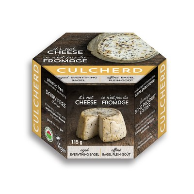 """Culcherd's artisanal plant-based cheeses are """"aged"""" and have a natural rind – which sets them apart in the market. The newest cheese to join the product line is Everything Bagel (pictured above). (CNW Group/Culcherd)"""