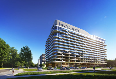 Visualisation of Hotel Baltic Wave, the building from the front.