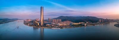 Vista aérea do Centro Internacional de Convenções e Exposições de Zhuhai