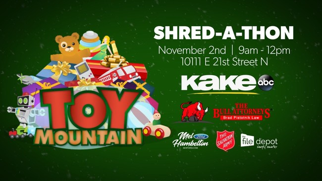The Bull Attorneys! ® and Brad Pistotnik Law ® Shred-A-Thon for Toy Mountain with KAKE-TV.