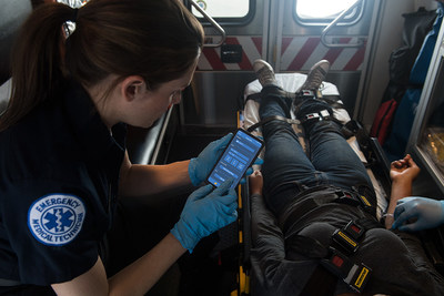 A Paramedic can now take advantage of a Samsung 5G enabled mobile device connected to the IBM Cloud platform to get vital stats for on other first responders in distress. (Photo attribution to Samsung Electronics Co., Ltd)