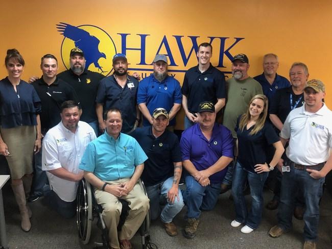 Taya Kyle with Hawk Veterans (Hawk employees that are Veterans)