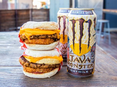 Java Monster Farmer's Oats paired with The 'Vegan Classic'' Breakfast Sandwich by Munchies Diner.