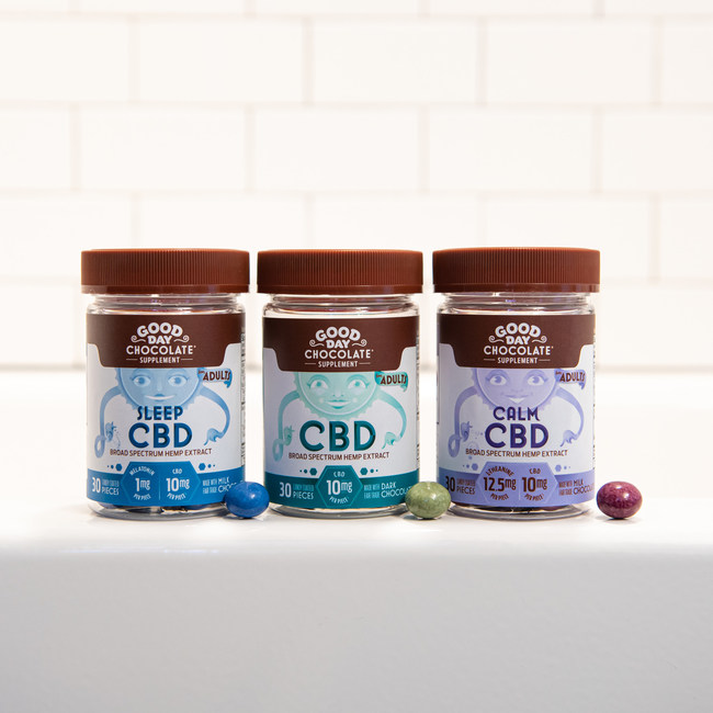 Good Day Chocolate's new CBD line includes three varieties – Original CBD, Sleep CBD and Calm CBD. Original CBD is made with 70% Fair-Trade dark chocolate and contains 10mg of CBD per piece. Sleep CBD is made with Fair Trade milk chocolate and contains 10mg of CBD plus 1mg of melatonin in each piece. Calm CBD is made with Fair Trade milk chocolate and contains 10mg of CBD plus 12.5mg of L-Theanine, a naturally occurring amino acid, per piece.