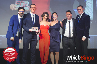 WhichBingo team and Stuart Simms, XLMedia PLC Group CEO, at the 2019 EGR Operator Awards