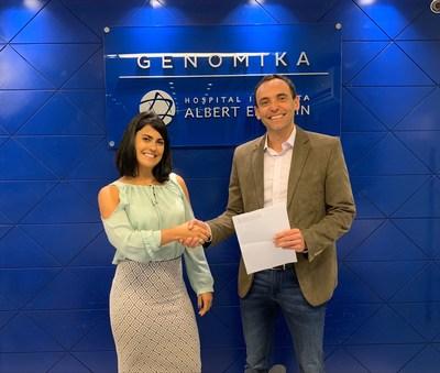 Gabriela Becker, Veritas' Business Development  Director- Brazil with PhD Joao Bosco Genomika's CEO