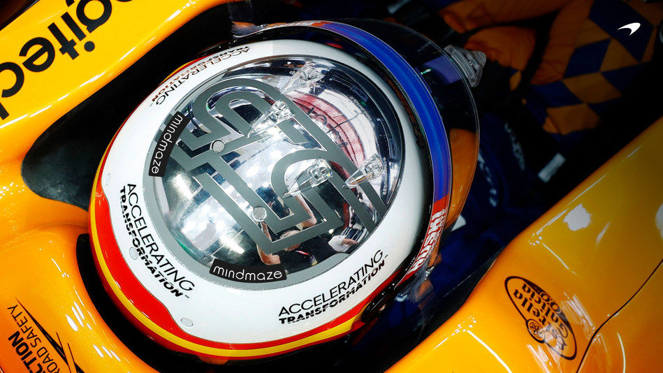 The MindMaze brand will be represented on the McLaren MCL34 Formula 1 car and on Carlos Sainz's and Lando Norris's racing kit and helmets