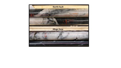Figure 6: Gold-bearing quartz veins in mafic host rocks discovered at the North Fault drill target (Top), and gold-bearing quartz veins in mafic host rocks in the Hinge Zone (Bottom).  The photos are of selected intervals and are not representative of the mineralization hosted on the property. (CNW Group/Great Bear Resources Ltd.)