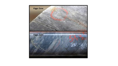 Figure 5: Examples of quartz-sericite-albite alteration with disseminated visible gold from the Viggo Zone.  The photos are of selected intervals and are not representative of the mineralization hosted on the property. (CNW Group/Great Bear Resources Ltd.)