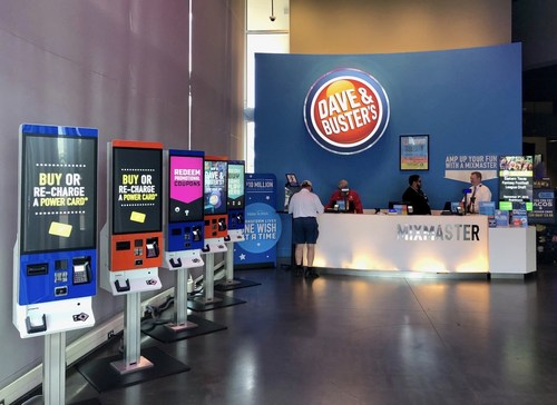 """Diebold Nixdorf's newest K-two interactive kiosks are designed to provide Dave & Buster's customers with a more enhanced, efficient and engaging experience while they """"Eat, Drink, Play and Watch."""""""