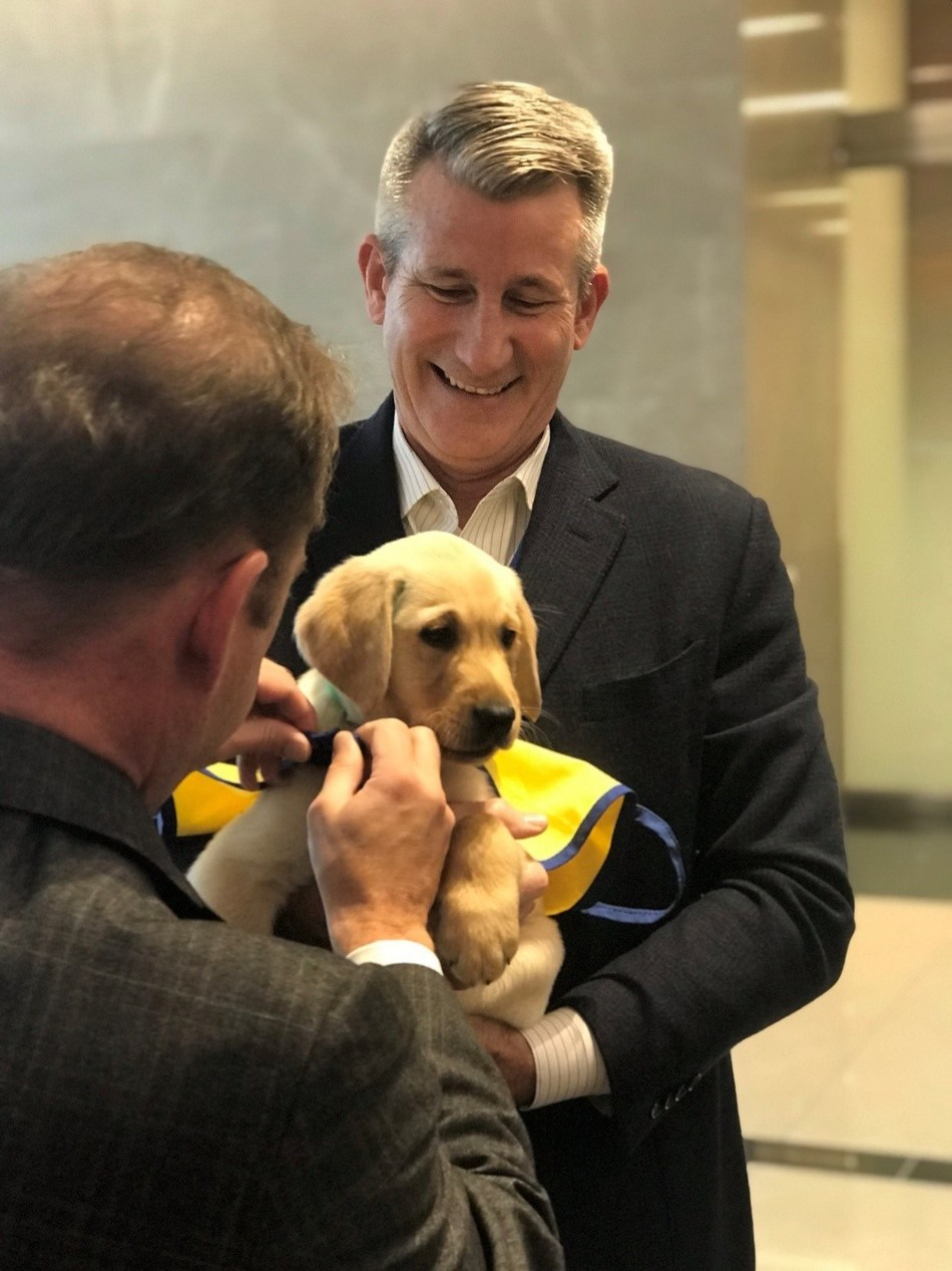 PenFed Credit Union CEO and President and PenFed Foundation CEO James Schenck ties service dog in-training vest on WestPoint, the newest member of the PenFed team from Canine Companions for Independence, as he prepares for his first day of duty at PenFed headquarters.