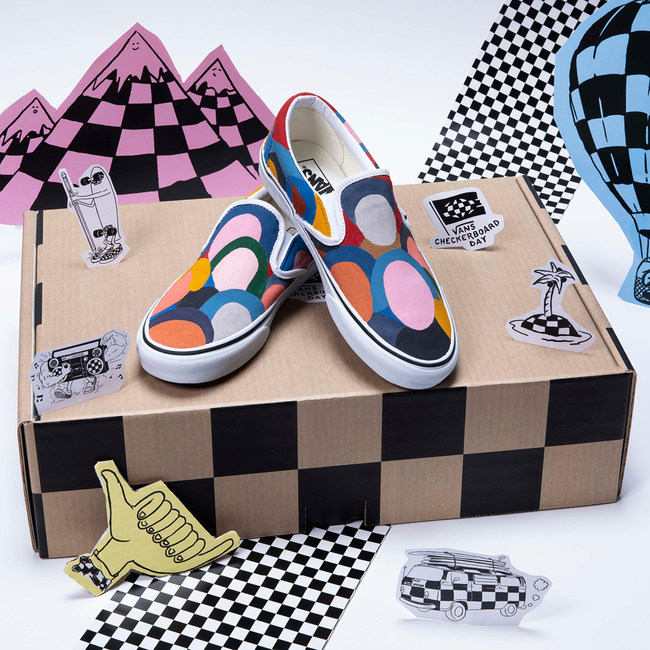 Artist Geoff McFetridge Custom hand painted Vans Slip-On