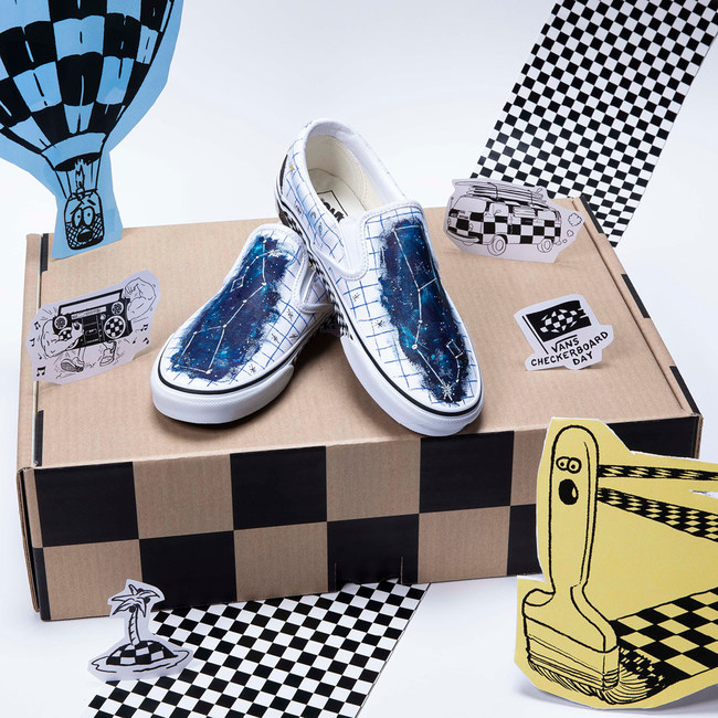 Vans Global Snow Athlete, Hana Beaman custom hand-painted Vans Slip-On