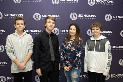 SNP STEAM students partake in IBM's P-TECH program, in partnership with Mohawk College. From left to right: Kayden George, Jarrod Wardell, Natalie Hill, Zacharie Hayes (CNW Group/IBM Canada Ltd.)