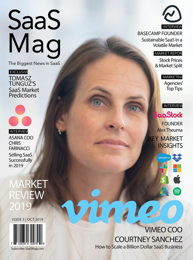 Vimeo COO Courtney Sanchez appears on the cover of Saas Mag, the premier print magazine for news, insights, and expert commentary in the Software-as-a-Service (SaaS) industry.