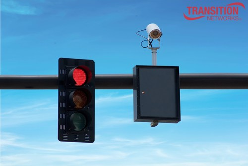 An example of Transition Networks' switch technology powering a traffic camera at an intersection.