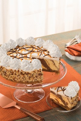 Baskin-Robbins' Caramel Delight Ice Cream Cookie Torte is a European-inspired dessert featuring Gold Medal Ribbon® ice cream layered on top of a chocolate chip cookie crust, garnished with caramel praline and fudge toppings and almonds. For more information, visit www.baskinrobbins.com.