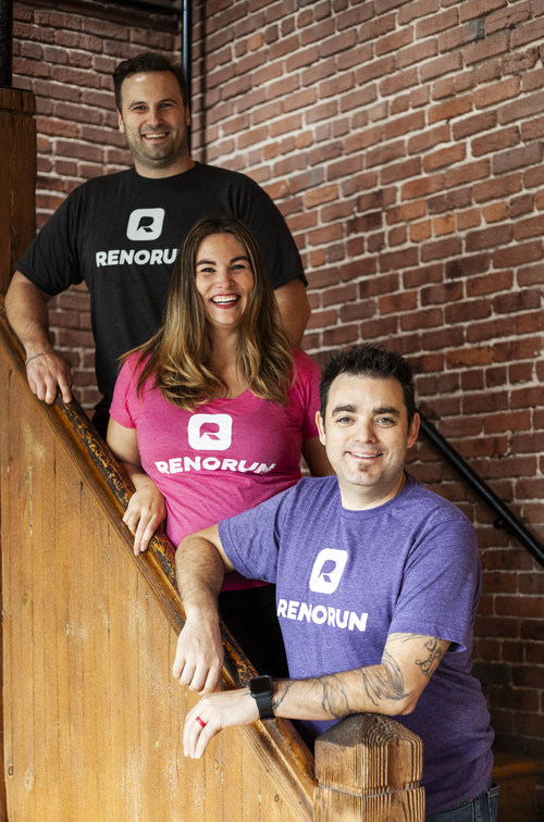 RenoRun, founded by Eamonn O'Rourke (front), Joelle Chartrand (middle), and Devlin Chartrand (back), saves contractors time and money by planning, sourcing and delivering scheduled or just-in-time building supplies and materials in less than two hours directly to the jobsite.