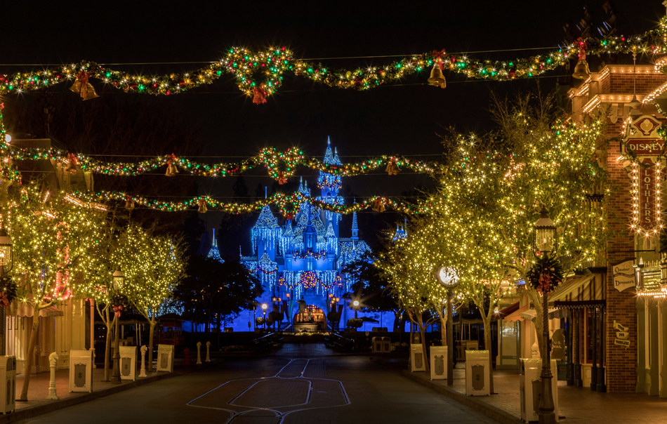 The Disneyland Resort transforms into the Merriest Place on Earth for the holiday season, Nov. 8, 2019 – Jan. 6, 2020. Among the merriment at Disneyland Park, Sleeping Beauty's Winter Castle shines brightly with the glow of the shimmering icicles and twinkling lights, enchanting guests from day to night. (Joshua Sudock/Disneyland Resort)