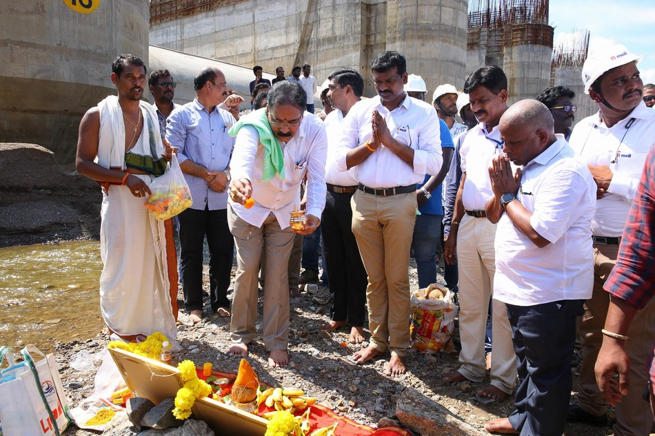 MEIL and Govt Officials Conducted Bhoomi Pooja at spillway block No-18 in Polavaram Project