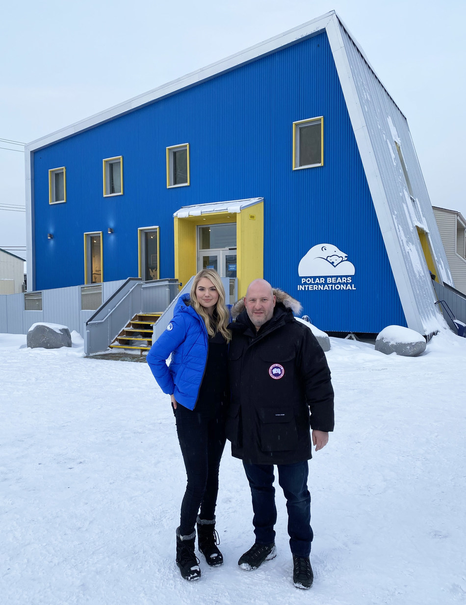 Kate Upton, a Polar Bears International ambassador, and Dani Reiss, President and CEO of Canada Goose, helped celebrate the grand opening of the new Polar Bears International House in Churchill, Manitoba, Canada on November 3, 2019. Image credit: Canada Goose. (CNW Group/Polar Bears International)