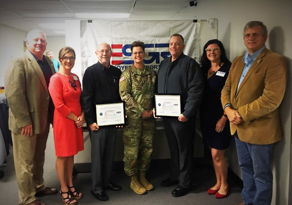 Paul Christianson (award on left) and Mark Hendricks (award on right) being honored with the ESGR Patriot Award