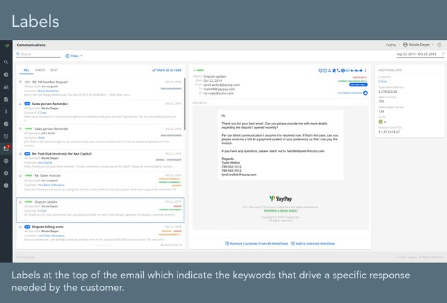 Labels at the top of the email which indicate the keywords that drive a specific response needed by the customer.