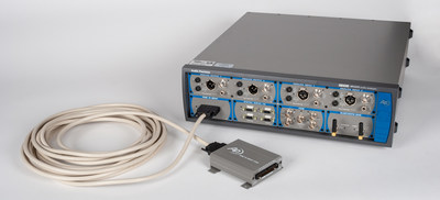 Audio Precision's new PDM 16 module—shown here installed in an APx525 B Series audio analyzer and with its remote interface pod and cable—greatly expands the number of PDM test channels available to MEMS microphone array developers, enabling simultaneous analysis of up to 16 channels.