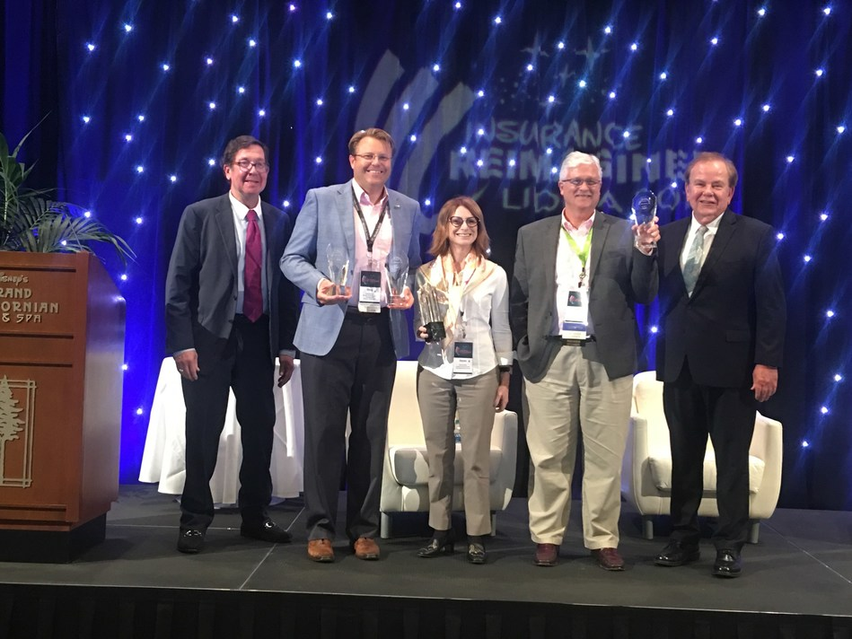 LIDMA Innovation Award Chair Frank T. Gencarelli, Doug Massey, Insurance Technologies, Alyson Kanney, Jornaya, Jeff McCauley, Paperless Solutions Group and LIDMA President Jan Pinney,